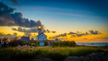 Le phare de Pontusval en fleur au couché du soleil, Finistere, Bretagne